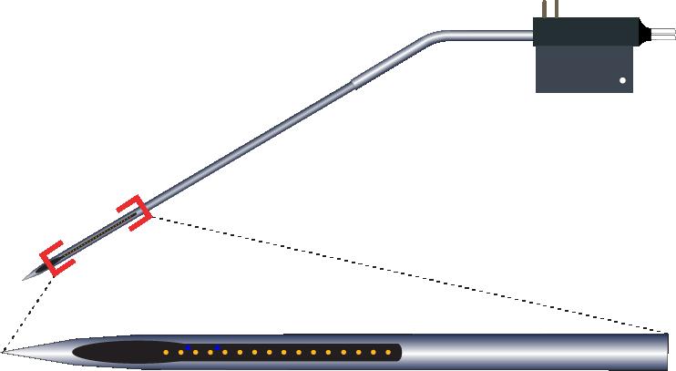 Single 16 Channel Kinked AND Optic Fiber Electrode