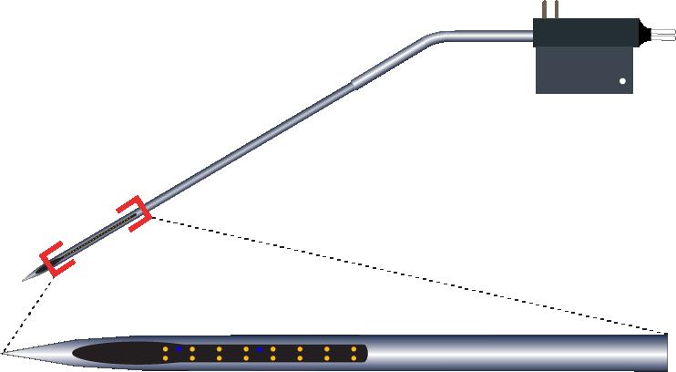 Stereotrode 16 Channel Kinked AND Optic Fiber Electrode