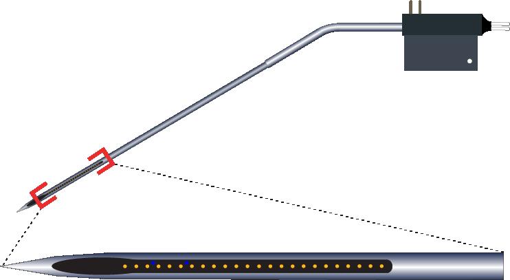 Single 24 Channel Kinked AND Optic Fiber Electrode