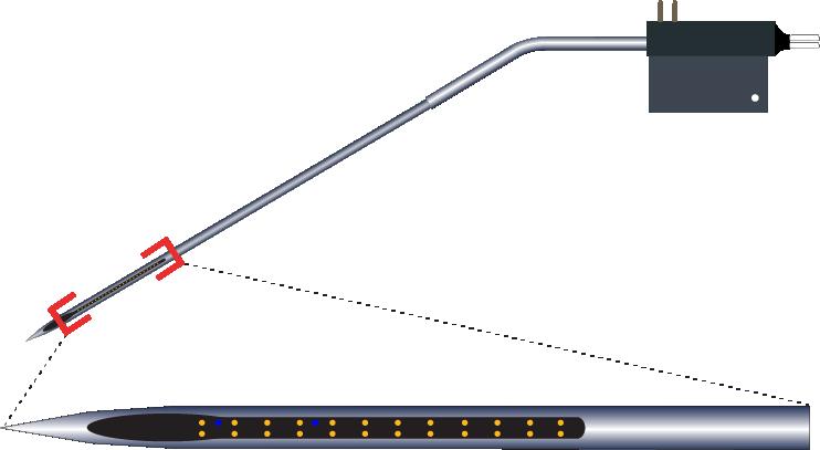 Stereotrode 24 Channel Kinked AND Optic Fiber Electrode