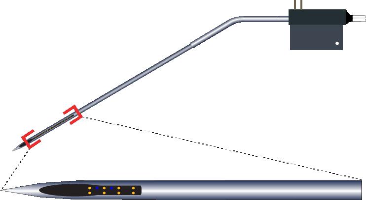 Stereotrode 8 Channel Kinked AND Optic Fiber Electrode